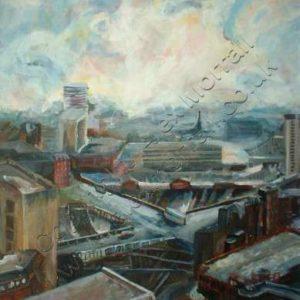 Acrylic Painting of Birmingham New Street