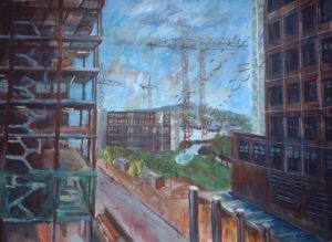 a watercolour of Canary Wharf